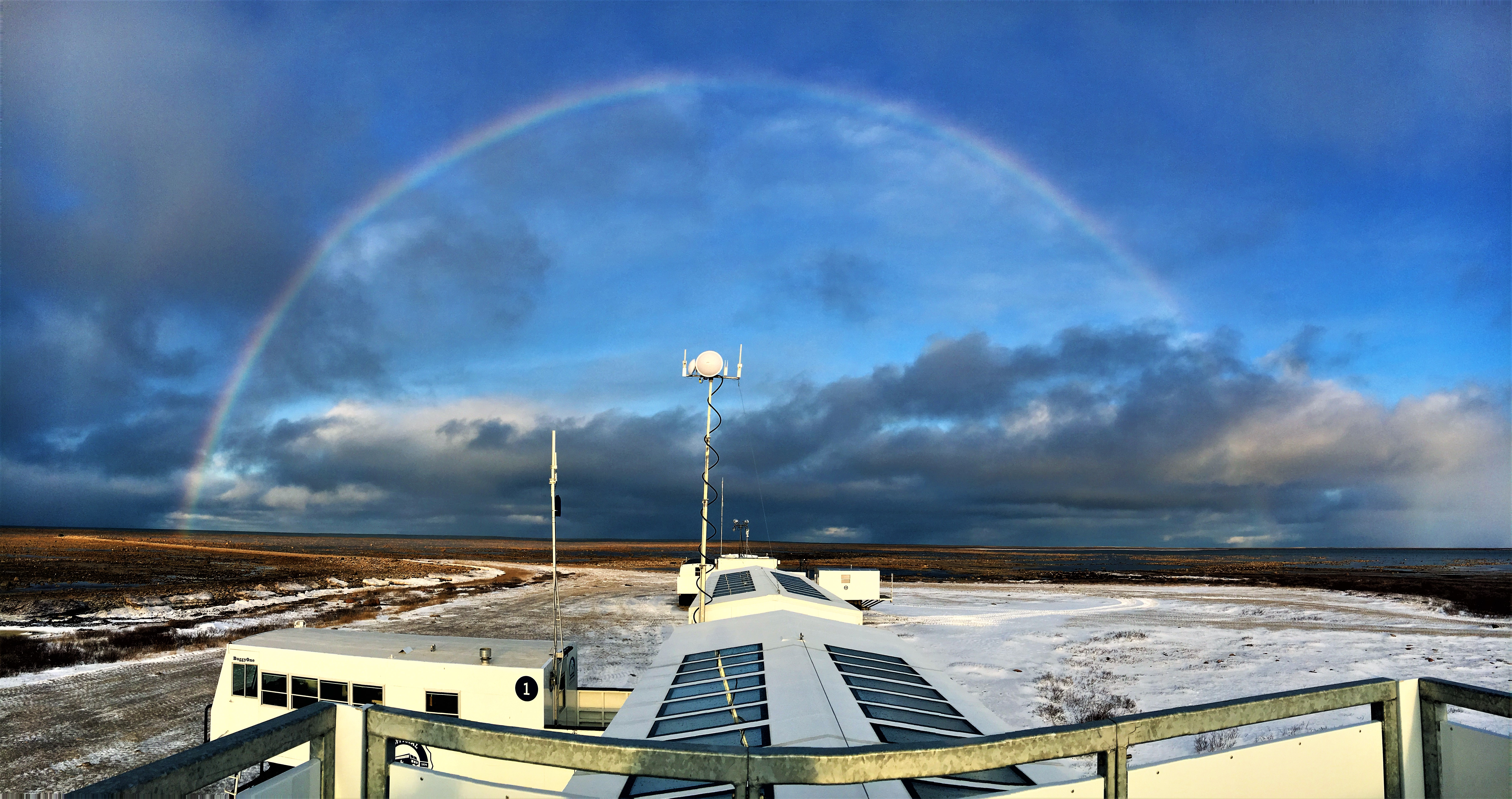 Somewhere over the rainbow at Tundra Buggy Lodge in Churchill, Manitoba.