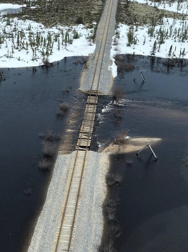 Rail line to Churchill washed out