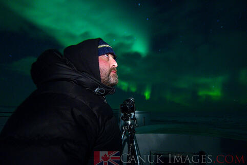 A photo of Simon under the northern lights
