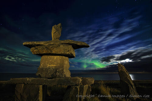 Churchill's Inukshuk and the Northern Lights.
