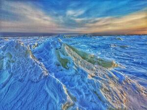 Ice hummocks on the frozen Churchill River in Manitoba, Canada.
