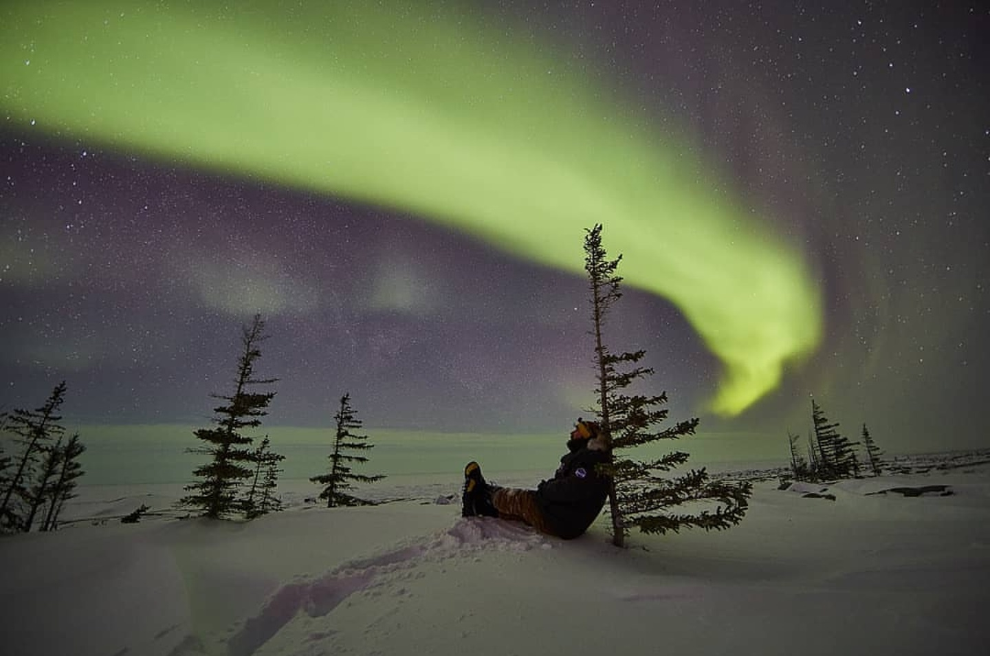 Enjoying the view of the northern lights in Churchill, Canada