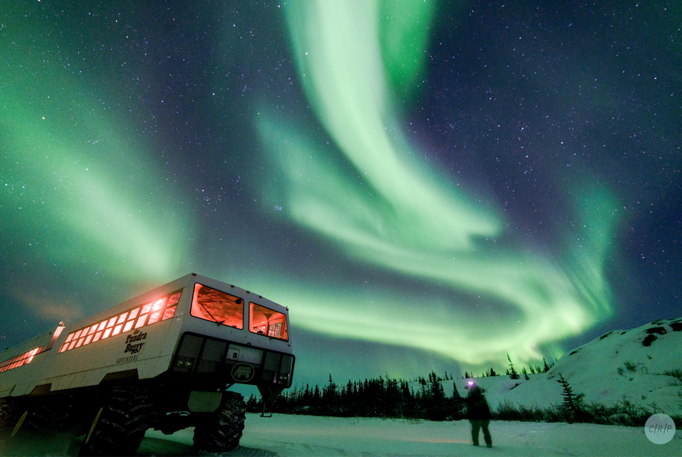 A guest experiences the northern lights as a buggy rests on the tundra nearby